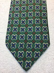 JOS A BANK MENS TIE 3.75 X 59 GREEN WITH BLUE AND ORANGE