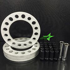 "4X 1/2"" INCH 8 LUG WHEEL SPACERS FOR 8X6.5 8X170 8X165.1 + BLACK SPLINE LUG NUTS"