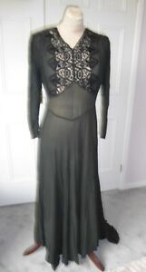 Genuine black silk 1930's long evening gown dress size approx.10/12.