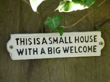 Cast Iron Wall Art Sign Cast Iron Sign Gate 'Small House - Big Welcome' Home
