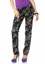 Melrose Damen Chinohose Hose Chino Stretch Blumen-Muster schwarz Gr. 32 605351