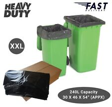 More details for black heavy duty wheelie refuse sacks strong 240l bin liners rubbish bags