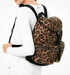 Michael Kors Backpack Bag Perry LG Flap Nylon Backpack Butterscotch New