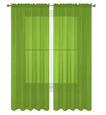2 Pack Fully Stitched Sheer Window Curtain Panel Drapes 63