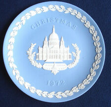 Wedgwood Blue and White Jasperware Christmas Plate 1972 St. Paul's Cathedral Mib