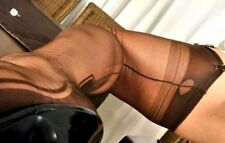 NEW GIO FF Fully Fashioned Manhattan Heel Seamed Stockings in Chocolate size 9