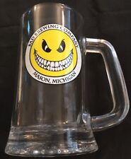"Bad Brewing Company Stein Cup Mug Mason Michigan Beer Brewery GLASS Clear 6"" 3"""