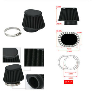 2x 2.15in High Flow Cone Air Filter Universal Fit For Racing Car Cold Air Intake