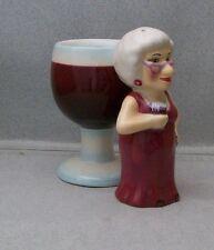 BIDDY GRANNY OLD LADY W/ GLASS OF WINE SALT & PEPPER SHAKERS VI 4O 1216