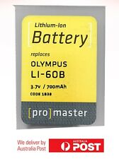 ProMaster Lithium ion battery replacement for: Olympus LI-60B 3.7v/700mAh