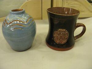 Beautiful Vintage Retro York Rose Hand Thrown Pottery Blue Vase & Mug UK  #PO277