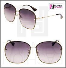 334fa704388 GUCCI 0228 Oversized Metal Gold Glitter Grey Gradient Sunglasses GG0228S  Women