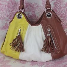 Chateau Hobo Slouch Hippie Bag/Purse Two Handles Brown White Yellow