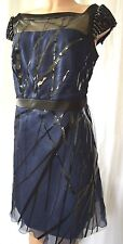 TONY WARD Pret-a Porter Blue Embroidered Applique Silk/Satin Dress Size 12