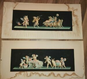 EP Fenderico Rare Matching Set Victorian Italian Putti Watercolour Paintings 19C