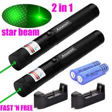 Pack of 2 900Miles Green Laser Pointer 532nm 18650 Lazer Toys+Batt+Char+Star Cap