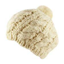 Faux Rabbit Fur Pompom Crochet Knit Beanie Beret Warm Winter Ski Hat Womens
