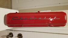 New ListingOld School Vintage Chevrolet Script Factory Steel Valve Cover Sbc Straight Bolt