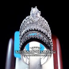 LADIES WOMEN'S ROUND SOLITAIRE CUT WEDDING ENGAGEMENT WEDDING DUO BRIDAL SET SS