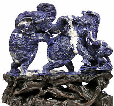 """21.26""""Natural Sodalite Elephant Family carving  home decor sclupture #M58"""