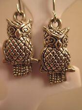 earrings owl silver tone antiqued dangle hook