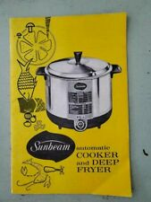 1966 INSTRUCTION MANUAL For Sunbeam Automatic Cooker and Deep Fryer With Recipes