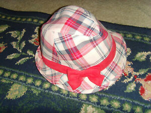 GUC Pink Plaid Hat Fedora New York Girl size 3-4 red bow nice condition trendy
