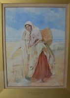 "J. Bouvier French Listed Artist ""Fisher Girl"" Signed Watercolour Framed"
