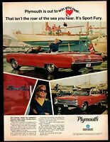 Original 1967 Plymouth Sport Fury Red Convertible Vintage Print Ad Advertisement