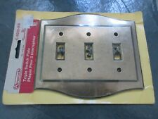 AABCO SOLID BRASS TRIPLE GFCI ROCKER SWITCH PLATE COVER