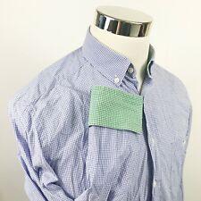 Hackett London Mens Medium Slim Fit Shirt Blue White Checker Flip Cuffs Casual