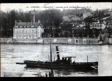 """CORBEIL (91) BATEAU REMORQUEUR à la VILLA """"CASTEL-JOLI"""" de WALDECK-ROUSSEAU 1914"""