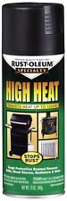 RUST-OLEUM 12oz High Heat Spray Paint BBQ Black Stops Rust Stoves Grills Engines