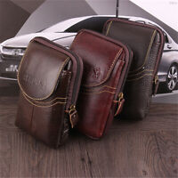 Men Genuine Leather Wallet Phone Coin Card Holder Waist Bag Handbag Purse Tote