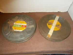 """2- Vintage Eastman Kodak 10"""" Film Canister w/ Paper Labels Rochester NY 1-Empty"""