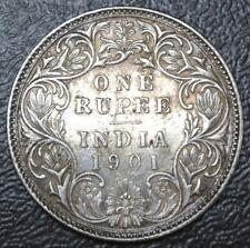 1901 INDIA - BRITISH - ONE RUPEE - .917 SILVER - Victoria - Beautiful Coin