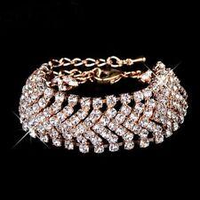 Shiny Girl Charming Exquisite Design Rhinestone Jewelry Wide Bracelet Bangles Gold