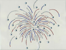 Firework Rhinestone iron on Bling Transfer DIY Hot fix Applique USA 4th of July
