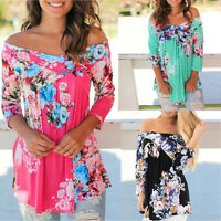 Sexy Womens Floral Print Off Shoulder Long Sleeve Shirt Casual Loose Top Blouse