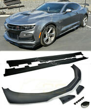 For 19-Up Camaro SS ZL1 1LE Style BLACK Front Lip Splitter & Side Skirts Primer