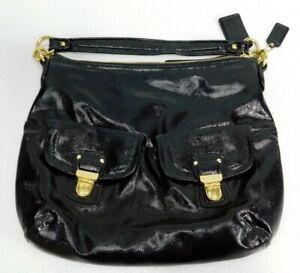 COACH NWT Daisy Liquid Gloss Pocket Hobo Bag-Black Pat Leather F23401 MSRP $298
