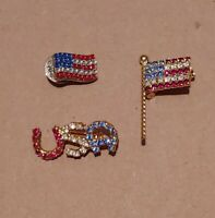 Lot Of 3 Vintage America USA American Flag Brooches Pins