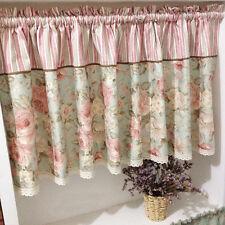 Village Pink Rose Cotton Block Lace Home Kitchen Window Cafe Curtain 16040405 220 Width X 60 Drop (cm)