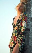 Free People Backstage Garden black floral palm tropical maxi dress S nwt altered