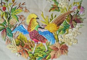 Antique French silk embroidered tapestry of Autumn, unfinished