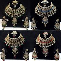 Indian Necklace Set Bollywood Kundan Pearl Maang Tikka Earring Woman Girls---