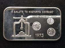 1973 Mother Lode Mint Coin Press MLM-24 Silver Art Bar A5034