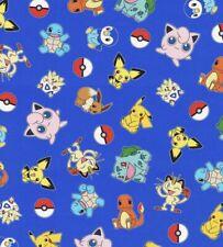 Pokemon Pikachu Friends 100% Cotton Fabric Fat Quarter FQ 1/4 Yard Fast Shi