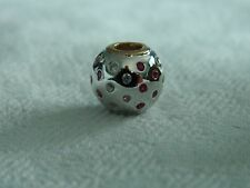 Clogau Silver & 9ct Welsh Gold White Sapphire & Ruby Bead Charm RRP £189.00