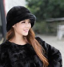 Winter Women Real New Mink Fur Hat Cap Headgear Beanie Beret QS 00032.2